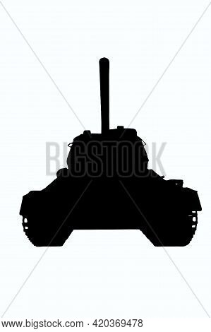 Black Outline Illustration Of Soviet Tank T-34 With Details On White Clipping Background. Front View