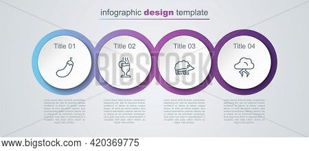 Set Line Eggplant, Mulled Wine, Hedgehog And Storm. Business Infographic Template. Vector