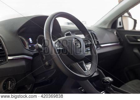 Russia, Izhevsk - September 25, 2020: Skoda Showroom. Interior Of New Karoq Car. Volkswagen Auto Gro