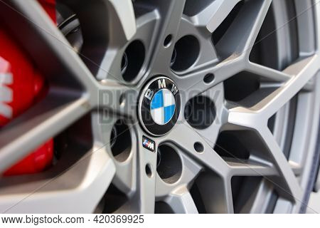 Close Up Of Bmw Alloy Wheel In Bmw Welt, May 2021, Munich, Germany