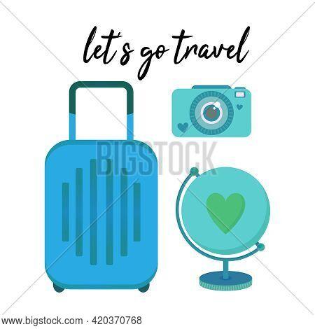 Travel Clip Art Vector Set Of Objects - Juggage Bag, Globe, And Instant Photo Camera. Cute Design El