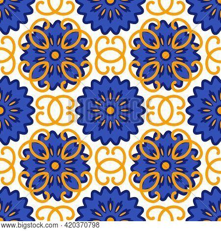 Azulejos Portuguese Traditional Ornamental Tile, Seamless Pattern. Vector Illustration
