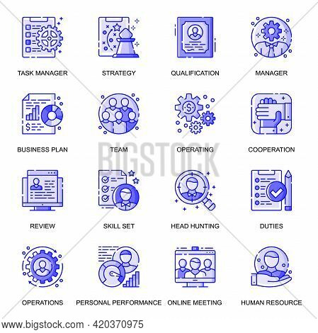 People Management Web Flat Line Icons Set. Pack Outline Pictogram Of Cooperation, Business Strategy,