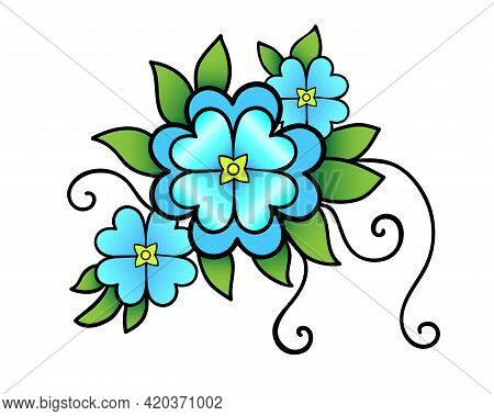 Inflorescence Of Three Blue Flowers Of Different Sizes, Delicate Green Leaves And Shoots - Vector Fu