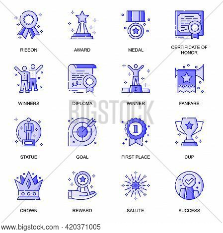 Success Web Flat Line Icons Set. Pack Outline Pictogram Of Winner, Goal Achievement, First Place, Be