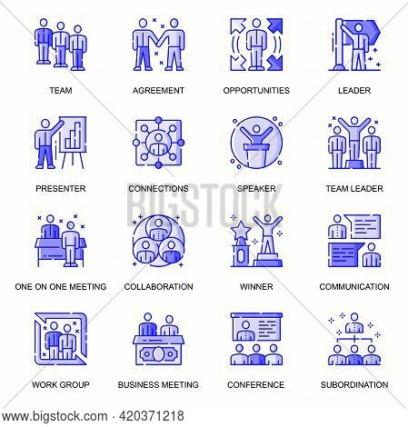 Business People Web Flat Line Icons Set. Pack Outline Pictogram Of Teamwork, Opportunities, Collabor
