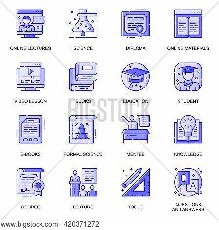 Education Web Flat Line Icons Set. Pack Outline Pictogram Of Online Lectures, Video Lessons, Univers