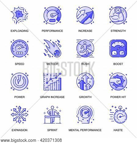 Performance Web Flat Line Icons Set. Pack Outline Pictogram Of Exploding, Strength, Speed, Meteor, B