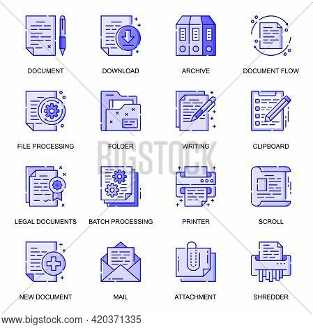 Document Web Flat Line Icons Set. Pack Outline Pictogram Of Download, Archive, File Processing, Writ