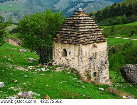 Traditional dwelling of the ancient Ingush. XII-XIV  century. Tower complex Ashka Bokhtaroy, Republic of Ingushetia, Russia