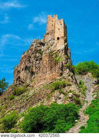 Battle tower of the ancient Ingush. Tower complex Vovnushki. North Caucasus. Republic of Ingushetia, Russia