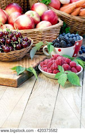 Healty Fresh Organic Food, Juicy Vegetarian Food On Table