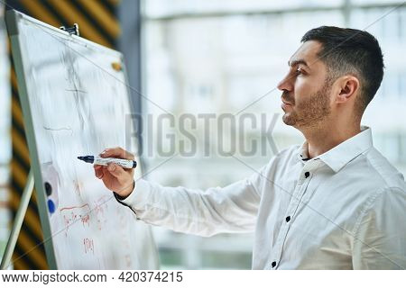 A Businessman And Company Manager In A White Shirt Writes A Marker On A Flipchart. Plans And Is Read