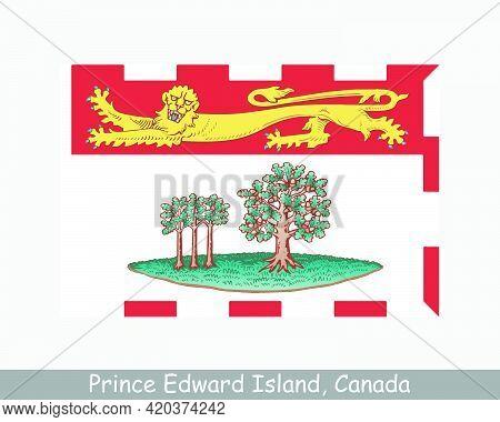 Prince Edward Island Canada Flag. Canadian Province Banner. Flag Of Pe, Ca. Eps Vector Illustration
