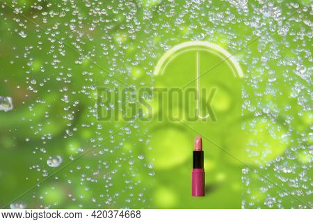 Lipstick Is Protected By Umbrella From The Summer Rain. Protection, Moisture Resistant Cosmetics Con