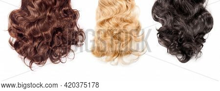 Brown, Blonde And Black Hair On White Background. Wavy Long Different Curly Hair. Hair Extensions, M