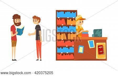 People Choosing And Bying Book In Bookstore Cartoon Vector Illustration