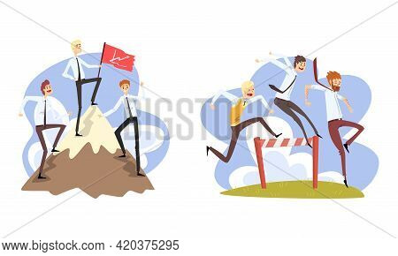 Business People Climbing Up Mountain To Success And And Overcoming Obstacles Set, Career, Leadership