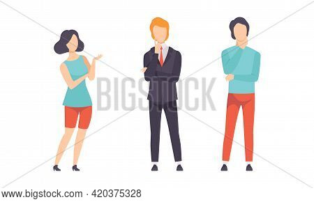 Various People Thinking To Make Decisions Set, Puzzled Men And Women Making Different Gestures Flat