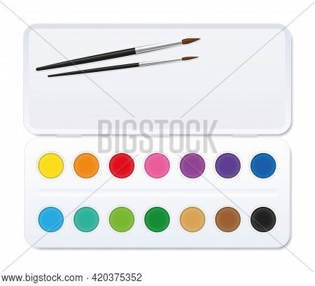 Watercolor Paint Box With Paintbrushes And Open Lid And Fourteen Round Paint Pots. Isolated Vector I
