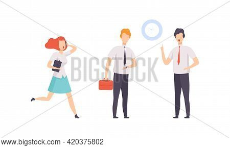 Business Person Rushing In Hurry To Get On Time Set, Punctual And Unpunctual Office Workers Characte