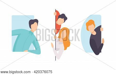 Set Of Curious People, Male And Female Characters Peeping And Looking Out Of Windows Flat Vector Ill