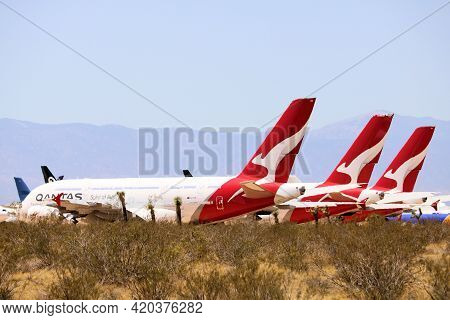 May 12, 2021 In Victorville, Ca:  Qantas A380 Aircraft Stored On The Tarmac At The Victorville, Ca A
