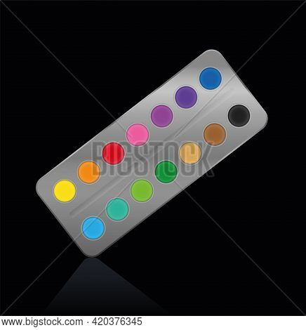 Watercolor, Silver Metal Paint Box With Fourteen Bright Round Paint Pots. Isolated Vector Illustrati