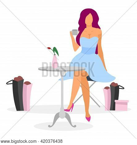 Shopaholic In Cafe Flat Vector Illustration. Elegant Lady Drinking Coffee, Happy With New Purchases.