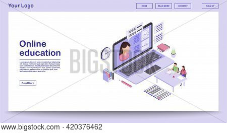 E Learning Webpage Vector Template With Isometric Illustration. Digital Education. Online School, Cl