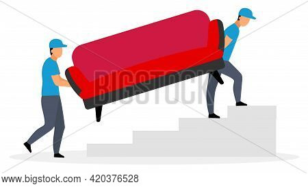 Couriers Carrying Sofa Flat Vector Illustration. Deliveryman, Postman, Loader Men Delivering Couch F
