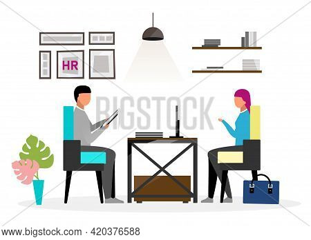 Interview At Hr Office Flat Vector Illustration. Human Resources Expert Speaking With Female Candida
