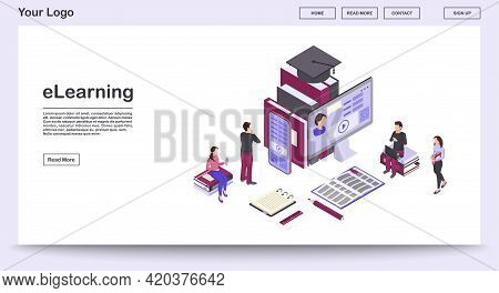 E Learning Webpage Vector Template With Isometric Illustration. Webinars, Video Tutorials. Online Bu