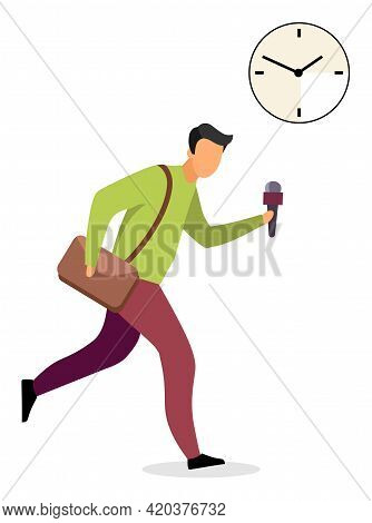 Reporter Running With Mic Flat Vector Illustration. Male Journalist Working For Sensational Breaking