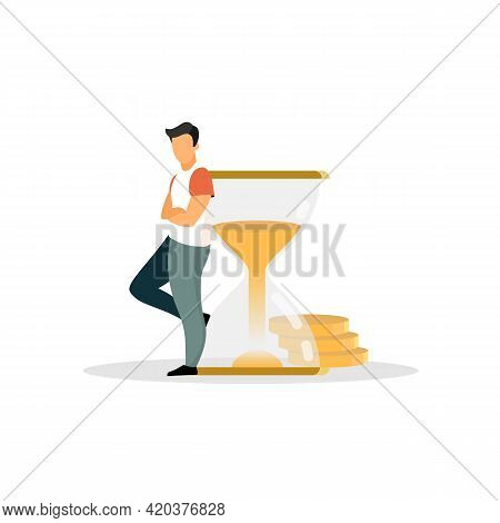 Man, Person, Human, Businessman, Male, Ceo, Adult Leaning On Sandglass Flat Vector Illustration. Iso