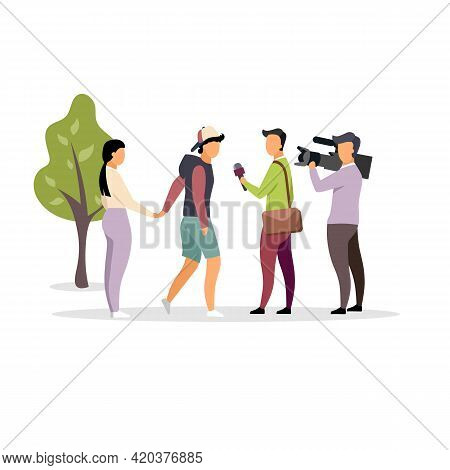Journalist Interviewing Couple On Street Flat Vector Illustration. Journalist With Microphone, Camer