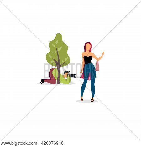Paparazzi Photographer Behind Tree Flat Vector Illustration. Journalist With Camera Hiding And Spy C