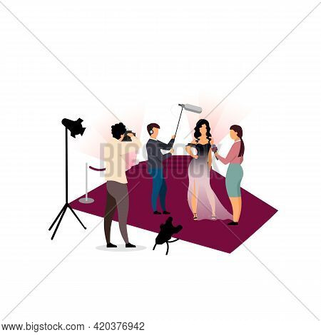 Journalists Interviewing Celebrity Flat Vector Illustration. Photographers, Paparazzi Photographing