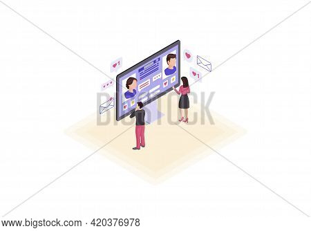Online Dating Computer Webpage Isometric Color Vector Illustration. Persons Social Network Profile I