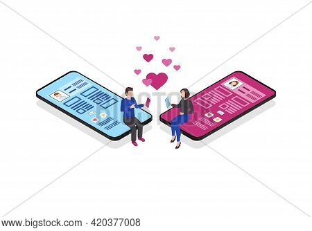 Online Chatting Isometric Color Vector Illustration. Romantic Connection. Persons Social Network Pro