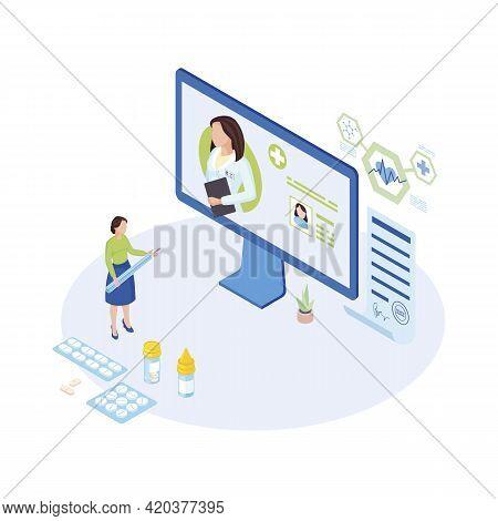 Telemedicine Expert At Work Isometric Illustration. Cartoon Physician, General Practitioner Prescrib
