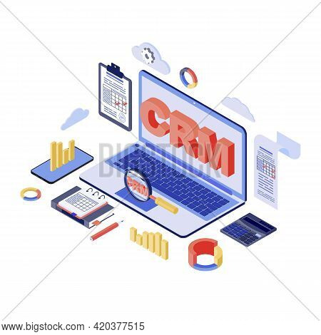 Crm System Isometric Vector Illustration. Customer, Management, Marketing Automation Software 3d Con