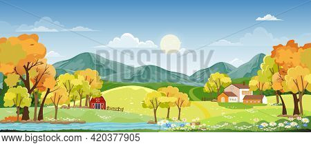 Spring Landscape In Village With Green Meadow On Hills With Blue Sky And Clouds,vector Summer Or Spr