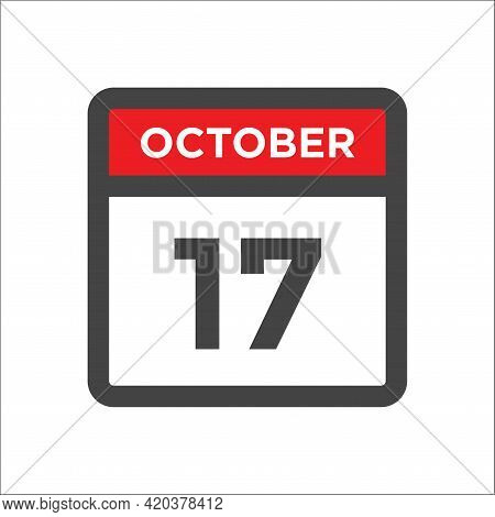 October 17 Calendar Icon - Day Of Month
