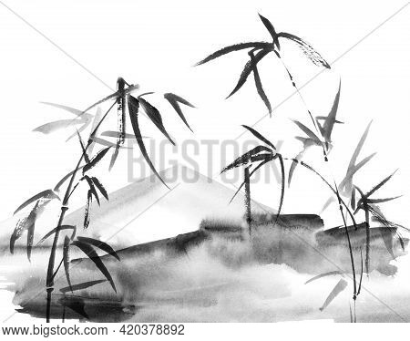Watercolor Illustration Of Asian Landscape - Mountains And Bamboo With Leaves On White Background. O