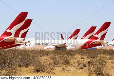 May 12, 2021 In Victorville, Ca:  Jumbo Jet A380 Airliner Aircraft Stored And Maintained During The