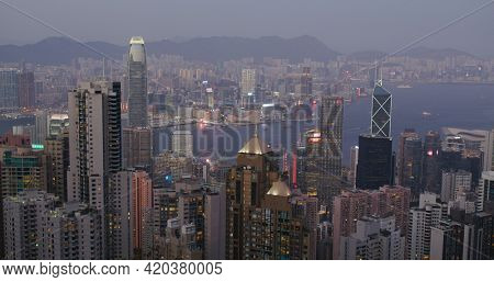 Victoria Peak, Hong Kong 05 February 2021: Hong Kong skyline in the evening