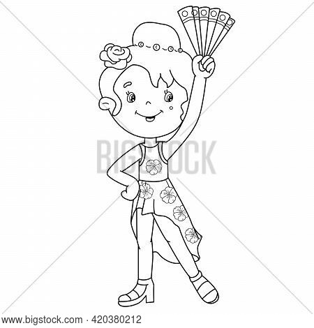 Coloring Page Outline Of Cartoon Girl Dancing Spanish Tango. Coloring Book For Kids.