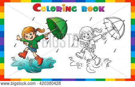 Coloring Page Outline Of Cartoon Girl Jumping In The Rain With Umbrella. Coloring Book For Kids.