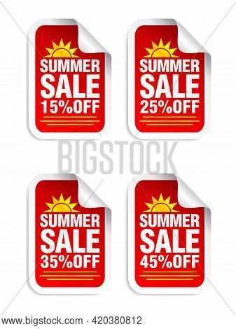 Summer Sale Red Sticker Set. Sale 15%, 25%, 35%, 45% Off. Stickers With Yellow Sun Icon. Vector Illu